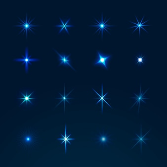Realistic sparkling star collection