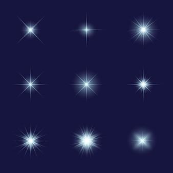 Collezione di stelle scintillanti realistiche
