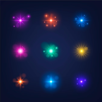 Realistic sparkling stars collection