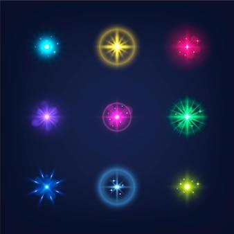 Реалистичная коллекция сверкающих звезд