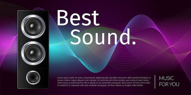 Realistic speaker in black box sound equipment on color wavy background illustration