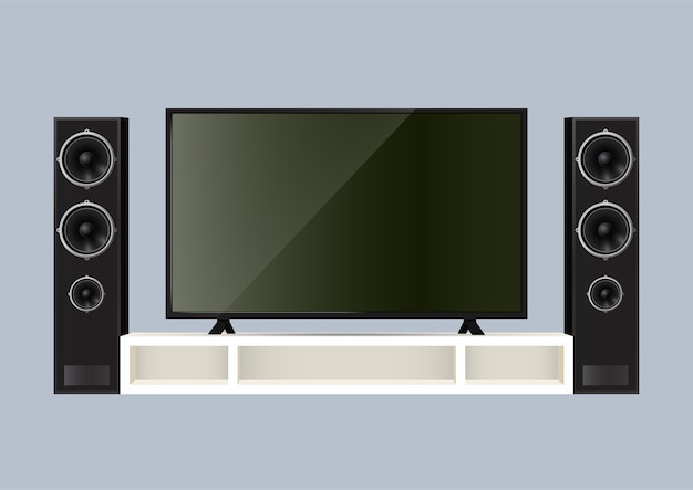 Realistic speaker and smart tv on the table.  illustration.