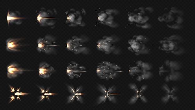 Реалистичные спецэффекты шагов дымовых облаков и огня из дробовика