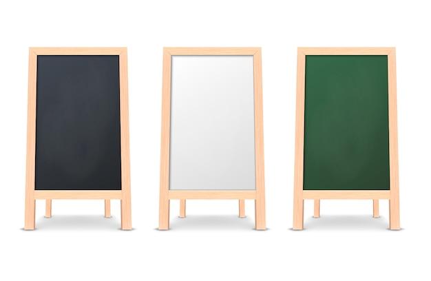 Realistic special menu announcement board icon set.