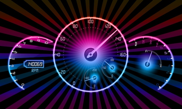 Realistic speedometer on black background