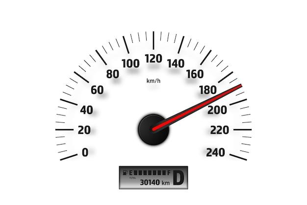 흰색 배경에 고립 된 현실적인 속도계