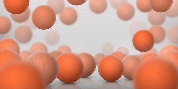 Realistic sphere background. 3d abstract spheres with reflections for science and medical molecule illustration. vector banner with plastic texture balls, futuristic illustration fresh orange color