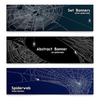 Realistic spider web cobweb banners