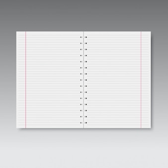 Realistic spiral lined and red line notebook.