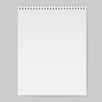 Realistic spiral notebook mockup, template copybook cover.
