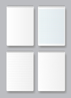 Realistic spiral notepad. various white papers for text. blank pages of school notebook with margins