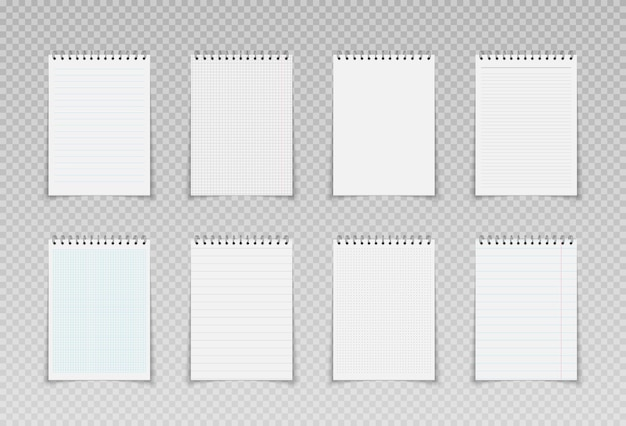 Realistic spiral notepads mockups lined checkered and dots paper binder page for memo pads