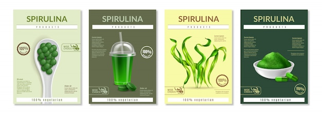 Realistic spirulina flyer template set