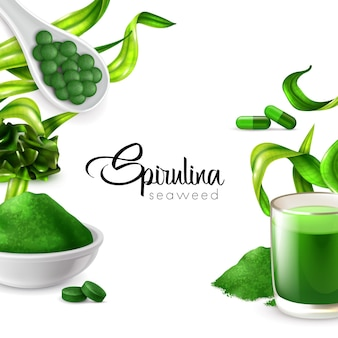 Realistic spirulina frame banner with editable ornate text surrounded by water plant