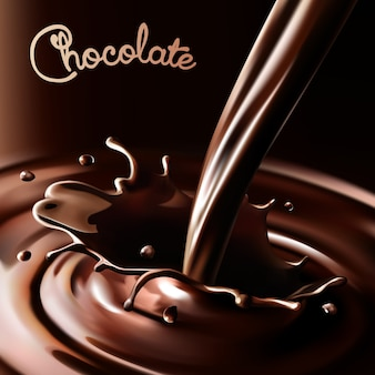 Realistic splash flowing chocolate or cocoa on a dark background. isolated   design elements