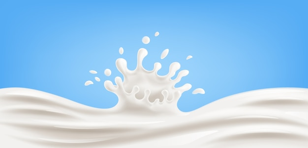 Realistic splash of milk on blue background