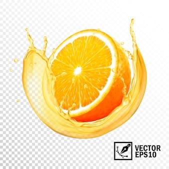 ジュースオレンジスライスの現実的なスプラッシュ。編集可能な手作りメッシュ
