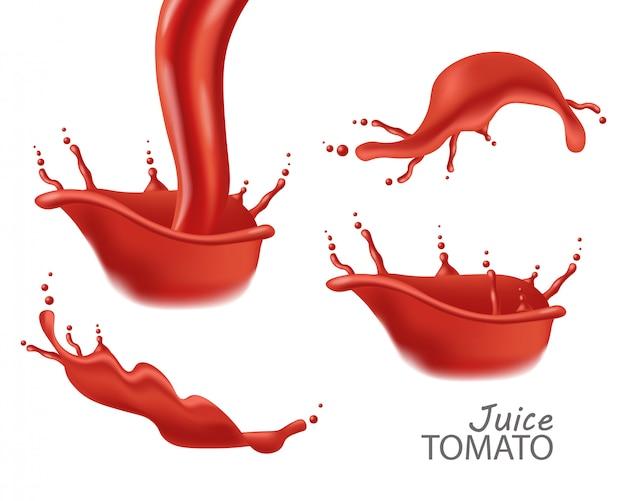 Realistic splash, tomato juice splash isolated, set, natural product,  illustration