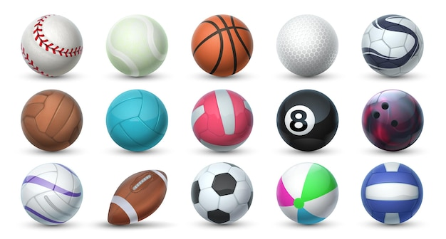 Realistic sport balls. 3d equipment for football, soccer, baseball, golf and tennis