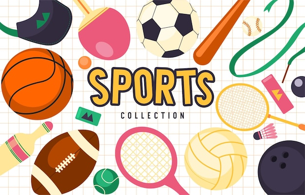 Realistic sports balls, bat, and other equipment vector big set