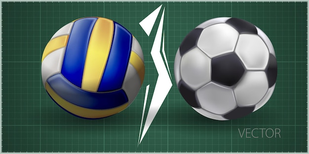 Realistic sports balls for playing games vector illustrations set. round sports equipment icons isolated on green background. illustration of soccer and volleyball ball
