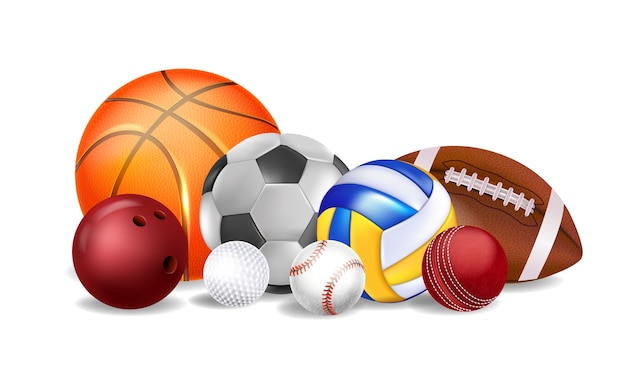 Realistic sports equipment on a white background