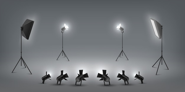 Realistic spotlight. studio light effects, floodlights and softbox, photo studio and stage light