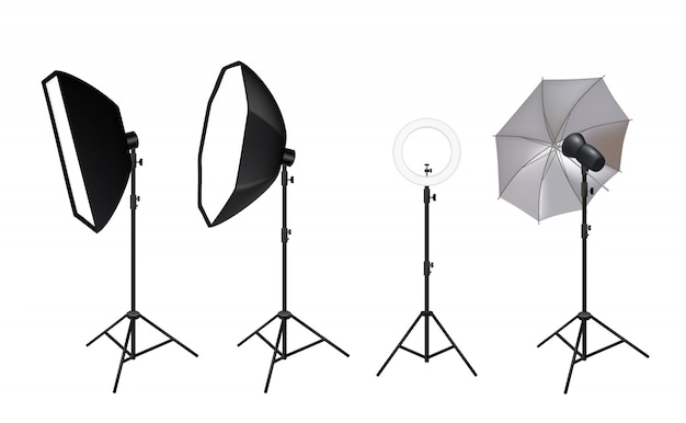Realistic spotlights. photo video accessories for studio softboxes spotlights vivid light shine glow effects pictures