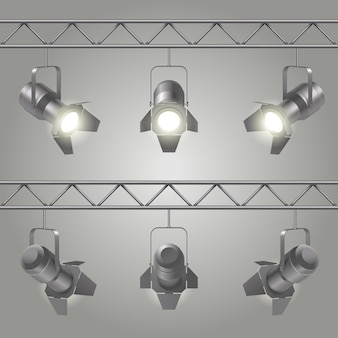 Realistic spotlights set hanging on iron slabs of ceiling and shines on stage vector illustration