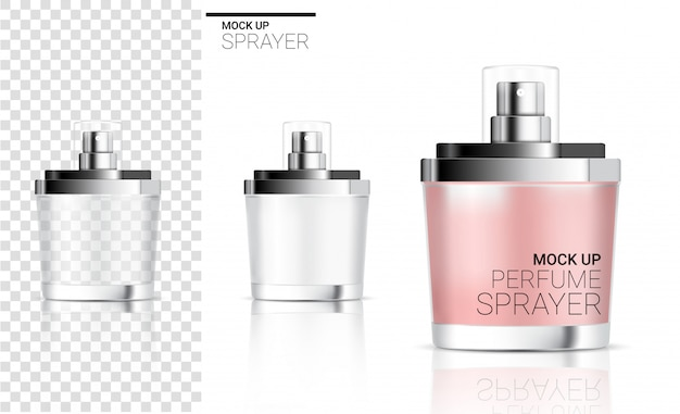 Realistic spray bottle  perfume cosmetic or soap foam