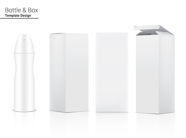 Realistic spray bottle for perfume packaging product and box container on white background, household and medical template design.