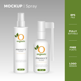 Realistic spray jar and tube design with organic logo