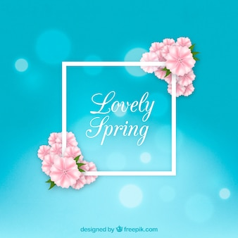 Realistic spring background in blue