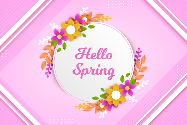 Realistic spring background in paper style