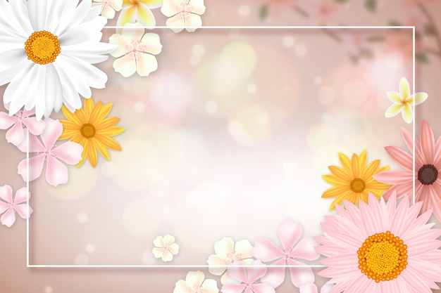 Realistic spring background with copy space and frame