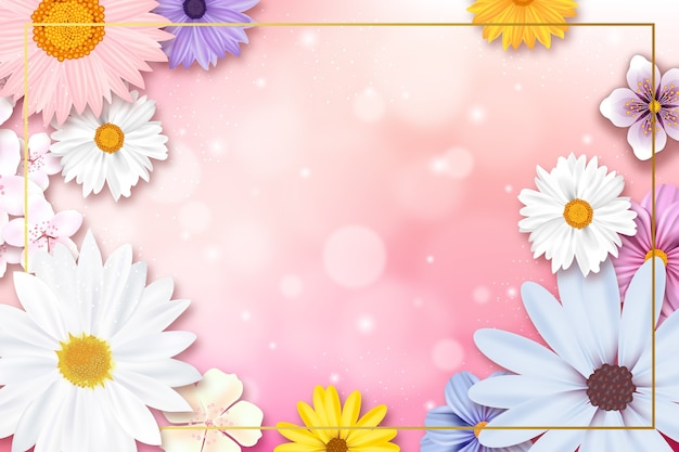 Realistic spring background with copy space