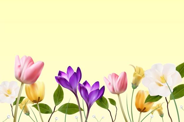 空のスペースと現実的な春の背景