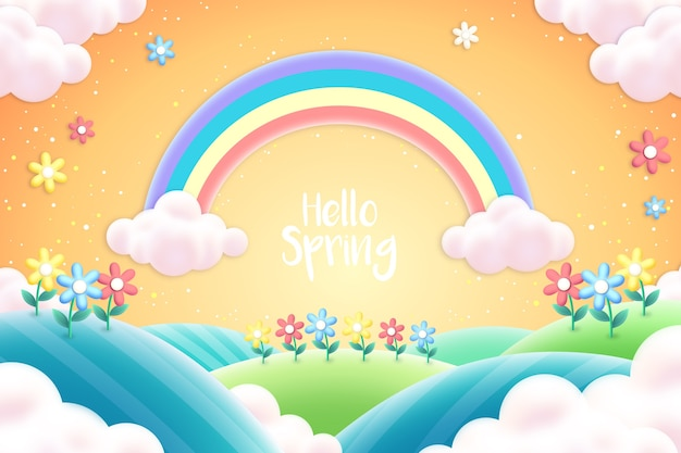 Realistic spring background with rainbow