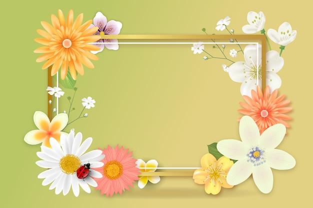 Реалистичная весенняя цветочная пустая копия
