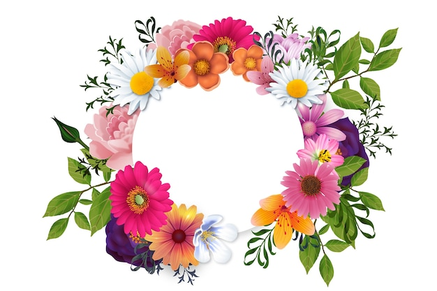 Realistic spring floral frame concept
