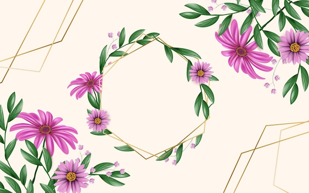Realistic spring floral frame template