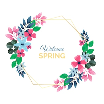 Realistic spring floral frame theme