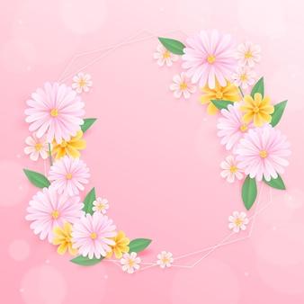 空きスペースのあるリアルな春の花のフレーム