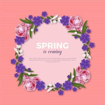 Realistic spring floral frame