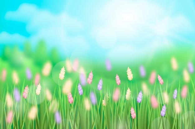 Реалистичный весенний пейзаж с размытыми элементами
