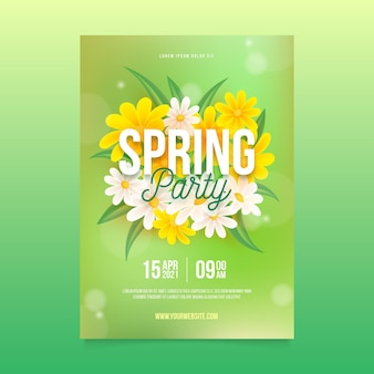 Realistic spring party vertical poster template
