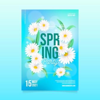 현실적인 봄 파티 수직 포스터 템플릿