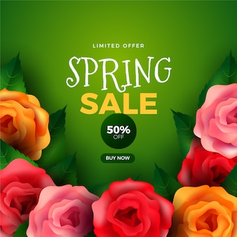 Realistic spring promotional sale concept