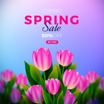 Realistic spring promotional sale