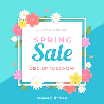Realistic spring sale background